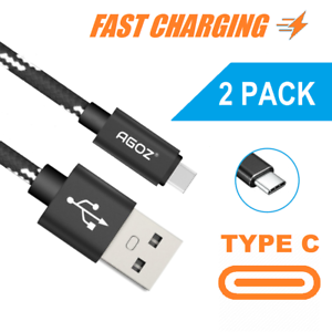 2 Pack USB C Cable Fast Charger Type C Data Sync Braided Cord for ZTE Smartphone