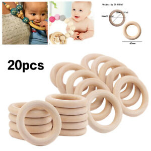 20X-Baby-Newborn-Natural-Round-Wood-Teething-Ring-Wooden-Teether-Toy-DIY-Gift-AU