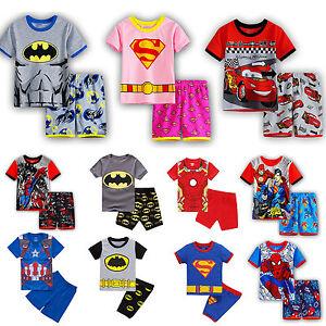 Kids-Toddler-Pyjamas-Super-Hero-Short-Sleeve-T-Shirt-Shorts-Outfit-Sleepwear-Set