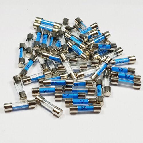 A 5 x 20mm 50 x 5 Amp 5A Amps 5x20mm Glass Fuse Quick Blow Fuses