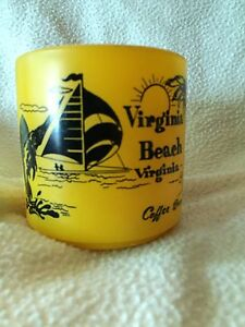 Vintage-1980s-Virginia-Beach-Yellow-Glass-Mug-Coffee-Break-by-Federal-10-oz
