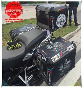 R1200GS ADV Travel Event 2018 Thick Black Side Pannier Box Sticker Decal For BMW