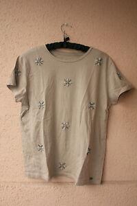 Beiges-Shirt-mit-aufgestickten-Kunststeinen-in-Bluetenform-von-Esprit-ca-Groesse-L