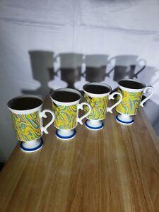4-Mid-Century-Footed-Coffee-Smug-Mugs-Royal-Crown-Arnart-Retro-Swirls-Rare