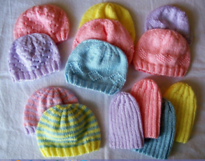 Image is loading Knitting-Pattern-Premature-baby-hats-5-designs-Knitted- 3fbbb9006e1