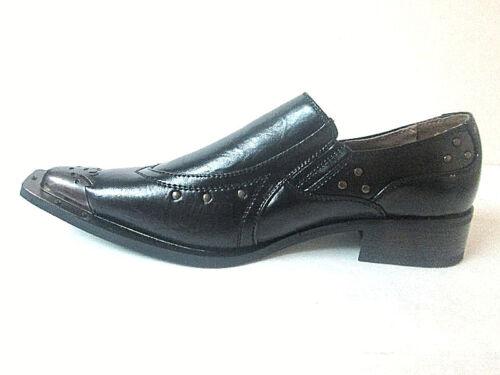on appuntito rare sera da Slip acciaio Loafer in Scarpe 95202 Uomo Black Punta Majestic 4EPApnwqx
