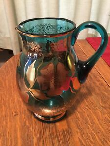 Bohemian-Czech-Glass-Pitcher-Guilded-With-Poppies-Light-Blue-Glass