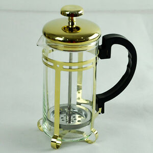 Gold French Press Coffee Maker : 3 Cup Gold French Press Coffee Tea Maker Stainless Steel French Filter Glass POT eBay