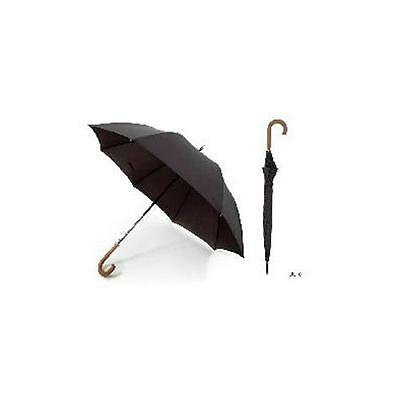 KS Brands UU0101 Quality Pongee Men's Walking Umbrella With Wooden Crook Handle