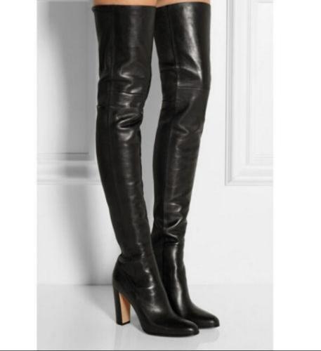 prima i clienti donna's Sexy Block High Heel scarpe Genuine Leather Over Knee Knee Knee High stivali scarpe sz  alla moda