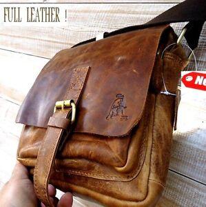 26e4cfbf97ef Image is loading Genuine-Vintage-hard-Leather-Shoulder-Bag-Messenger-man-