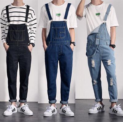 Fashion Men Suspenders Jean Shorts Denim Overalls Casual Pants Jumpsuit Straight