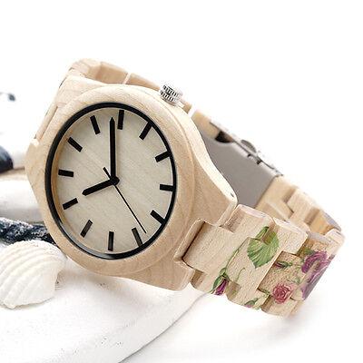Pine Wooden Watches Brand Designer Watch for Men Women UV Printing Flower Band