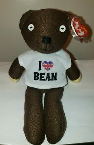Ty Beanie Baby MR. BEAN (T-Shirt)(UK Exclusive) Teddy Bear - MINT with MINT TAGS