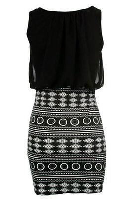 2016 summer Women casual Black Aztec Skirt Mini party print Dress LC21550