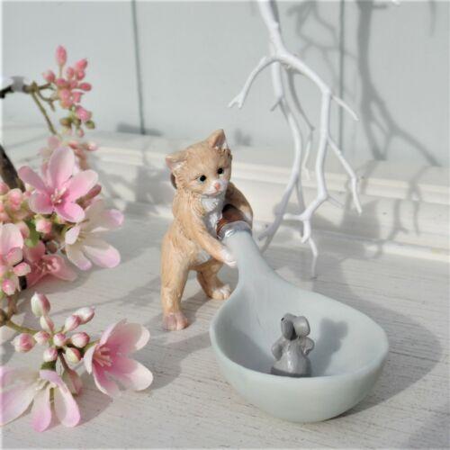 Clayre /& Eef Deko Katze mit Maus auf Löffel Shabby Landhaus Handbemalt 17x6x7 cm