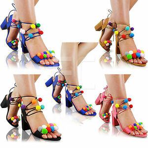 18ba19025737 NEW LADIES MID BLOCK HEEL POM POM TASSEL LACE UP PEEP TOE SHOES ...