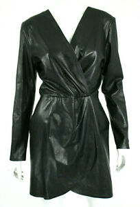 SABLYN-2-076-Black-Leather-Exposed-Zip-GIADA-Wrap-Effect-Mini-Dress-L