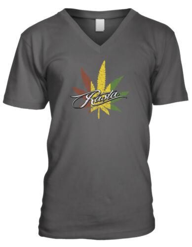 Rasta Pot Leaf Marijuana Reggae Jamaica Rastafarian Smoke Men/'s V-Neck T-Shirt