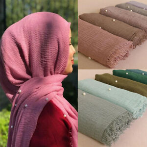 Women-Ladies-Plain-Crinkle-Cotton-Scarf-Shawl-Muslim-Hijab-Head-Wrap-Pearl-Beads