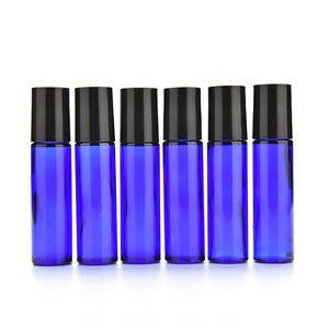 Glas-Roll-On-10ml-leer-Duft-Parfuem-aetherisches-Ol-Flasche-blau-Vogue-YR