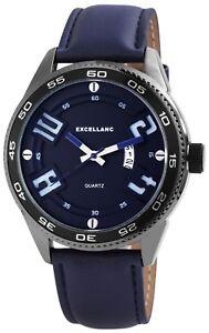 Excellanc-Herrenuhr-Blau-Titan-Look-Analog-Metall-Kunstleder-Datum-X2900029004