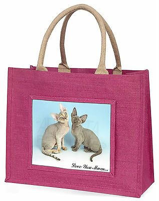 Devon Rex Katzen 'Liebe, die Sie Mama' Große Rosa Einkaufstasche Weihnachten Vor
