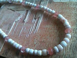 Beach Bumb Necklace 17/18.5 Handmade Pink White Conch Sea Shell Tourmaline