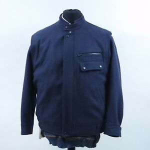 TRUE-GERMAN-Vintage-Mens-Navy-Blue-Wool-Lined-Bomber-Harrington-Jacket-SIZE-XL