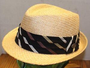 6b09c5370e4 DORFMAN PACIFIC STRAW FEDORA HAT CLOTH BAND SIZE MEDIUM EXCELLENT ...