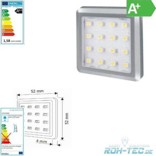 12v//2w 3000k Costruzione LED mobili//Sottostruttura Luce Square-ARGENTO-BIANCO CALDO