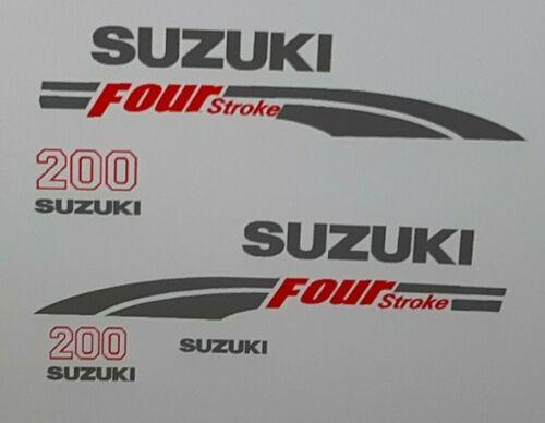 Suzuki 200  hp FourStroke Outboard Engine Decal Kit Silver /& Red  MARINE VINYL