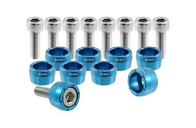 VMS RACING BLUE 8MM 8 MM HEADER CUP BOLT WASHER KIT FOR HONDA ACURA JDM BOLTS