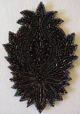 Large, Hand-Beaded Applique. Black & Iridescent