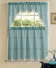 Orchard Luxurious Matte Sheer Kitchen Curtain Tier & Swag Set - Assorted Colors