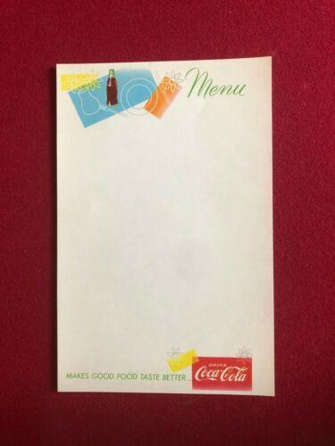 """Coca-Cola Scarce // Vintage /""""Un-Used/"""" MENU Sheet 1950/'s"""