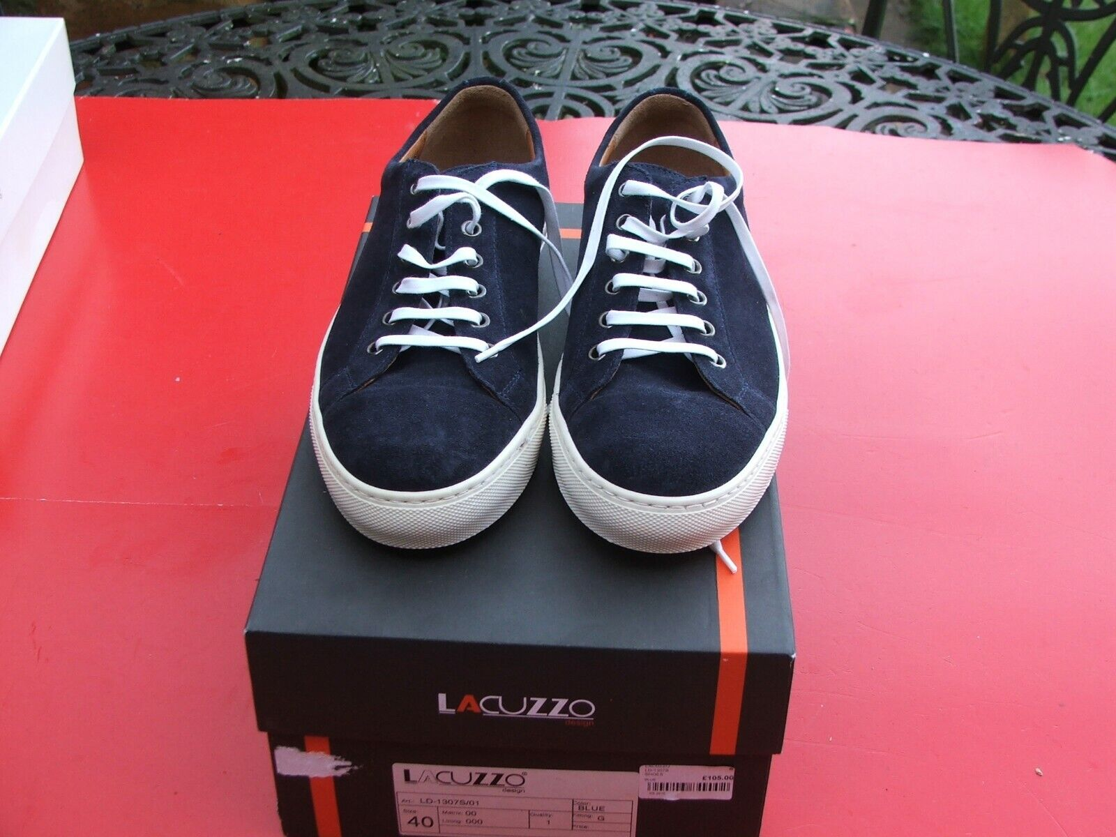 Mens Boys Lacuzzo Trainers size UK 6.5 Eu 40 navy suede upper G fitting