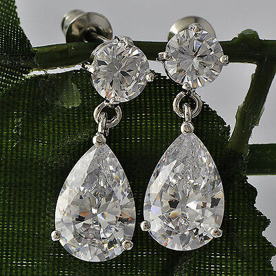 Gold Filled Silver crystal stud ear cute long drop CZ dangle earring Woman