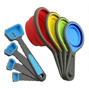 8 Pcs Food Grade Silicone Folding Measuring Cups Spoons Baking Tool Set Hot by Ebay Seller