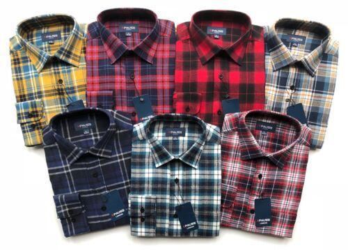 Mens Long Sleeve Flannel Lumberjack Check Causal Shirt Brushed 100/%Cotton M-5XL