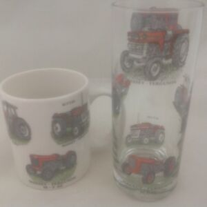 MASSEY FERGUSON MUG AND MATCHING TALL HIGHBALL GLASS WITH 6 DIFFERENT TRACTORS