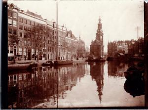 Pays-Bas, Amsterdam, Munttoren Vintage print Tirage citrate  8x11  Circa