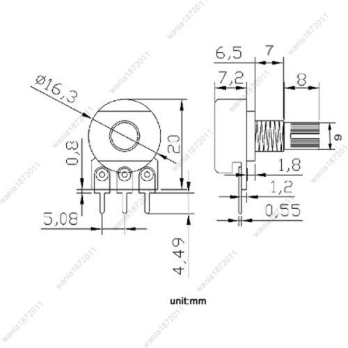 10 x B50K 50K Ohm Linear Taper Rotary Potentiomètre Panel Pot 15 mm arbre