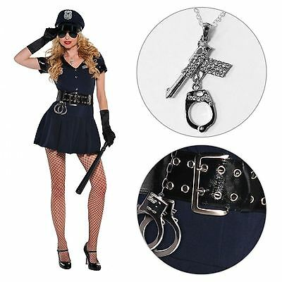Carnival Ladies Sexy Policewoman Cop Police Uniform Fancy Dress Costume Outfit