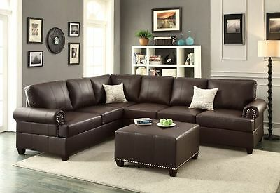 Espresso Bonded Leather 2pc Sectional Sofa Set Reversible Loveseat ...