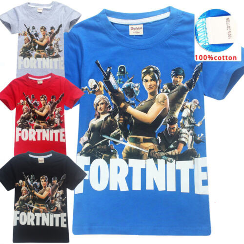 Kids Boys Girls Fortnite Cosplay Costume T-shirt Playsuit Halloween Fancy Dress
