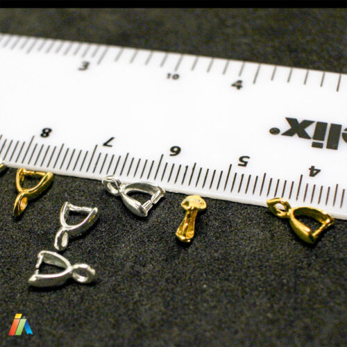 SILVER or GOLD PLATED PINCH BAILS For Pendants 9x5x2mm CLASP  FIT CRYSTAL