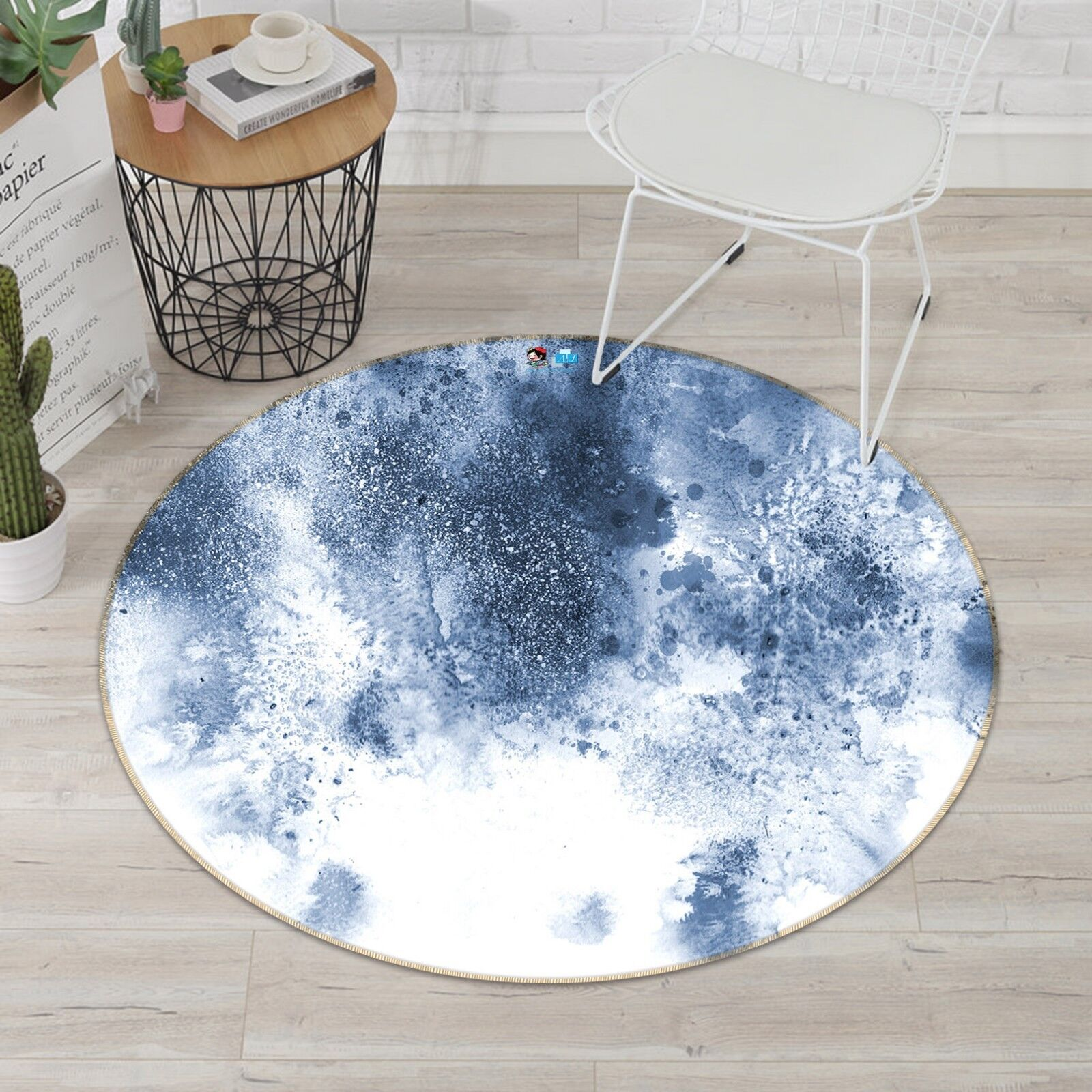 3D Ink Painting 4 Non Slip Rug Room Mat Round Quality Elegant Photo Carpet AU