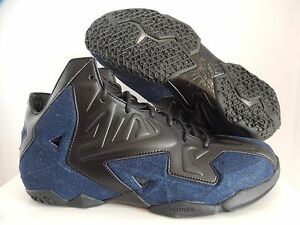 brand new 58e6f a368a Image is loading NIKE-LEBRON-XI-11-EXT-DENIM-QS-BLACK-