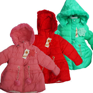 KIDS-GIRLS-QUILTED-WINTER-COAT-PUFFER-FUR-COLLAR-HOODED-JACKET-PARKA-SIZE-AGE